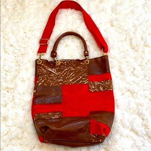APD Patchwork Leather & Suede Convertible Bag